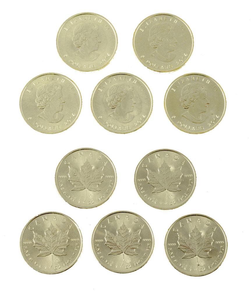 Five Queen Elizabeth II Canadian silver $5 dollar pieces, 2014,