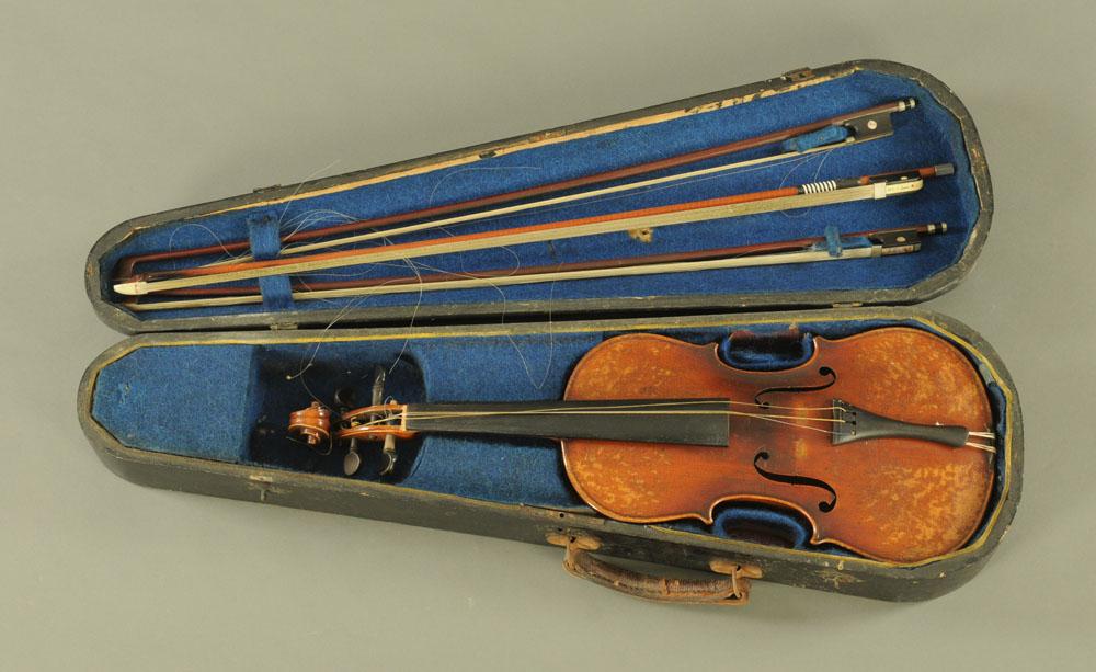 A 19th century violin, with paper label Conzert-Violin Stradiuarius Cremonensis Faciebat AO.17.