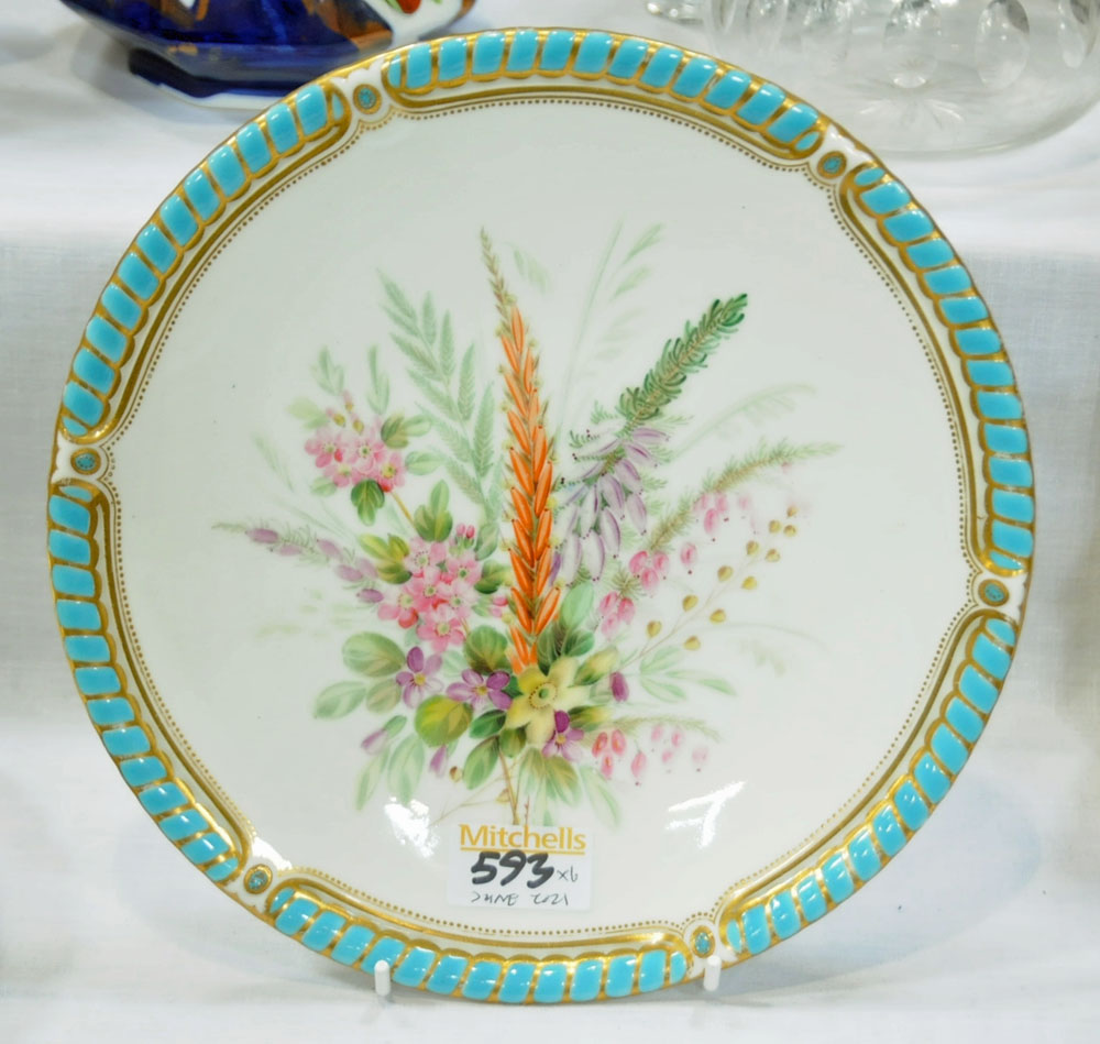 A collection of six 19th century hand painted cabinet plates, one bearing lozenge registration mark, - Image 8 of 15