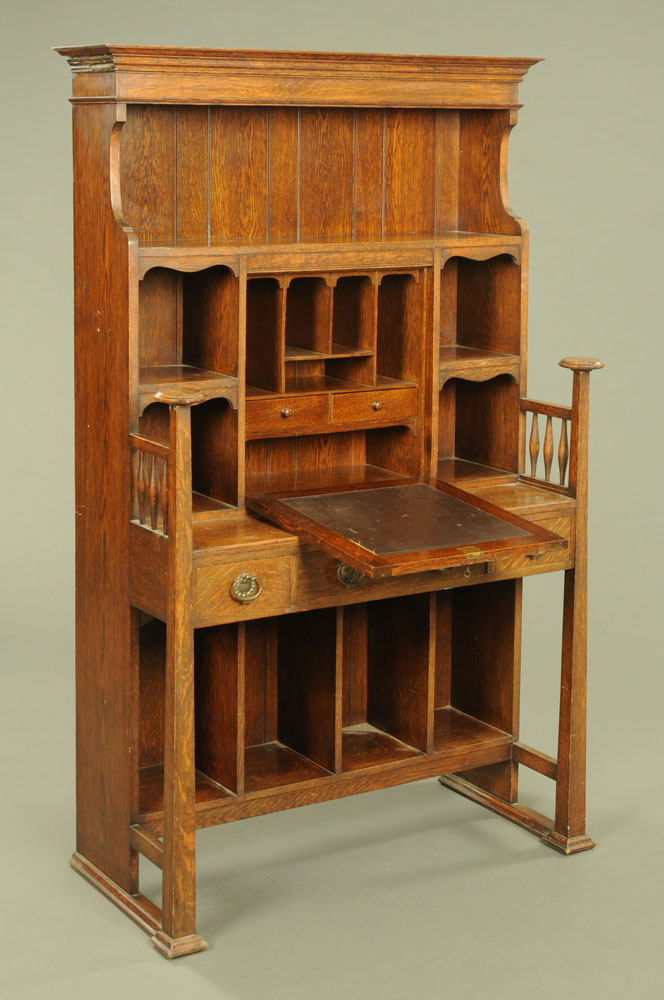 A late 19th / early 20th century Art Nouveau oak secretaire cabinet, with a series of shelves, - Image 2 of 4