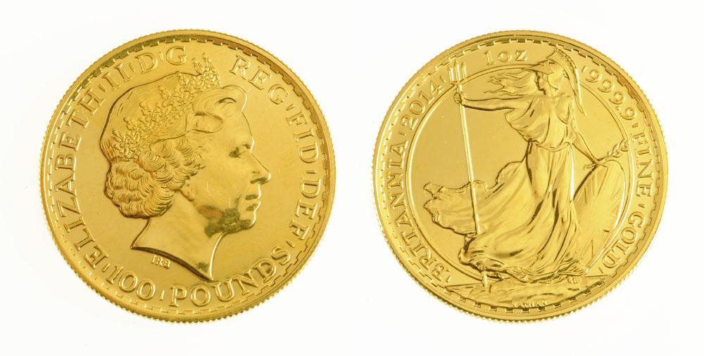 "A Queen Elizabeth II gold Britannia, 2014, inscribed ""One Ounce 999.9 Fine Gold Britannia"". UNC."