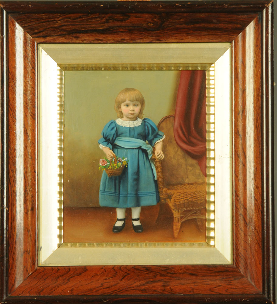 A 19th century oil painting of a young child with basket of flowers. 32 cm x 26 cm, framed. - Image 2 of 2