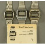 Three 1970's digital watches, Casio, Texas Instruments and another.