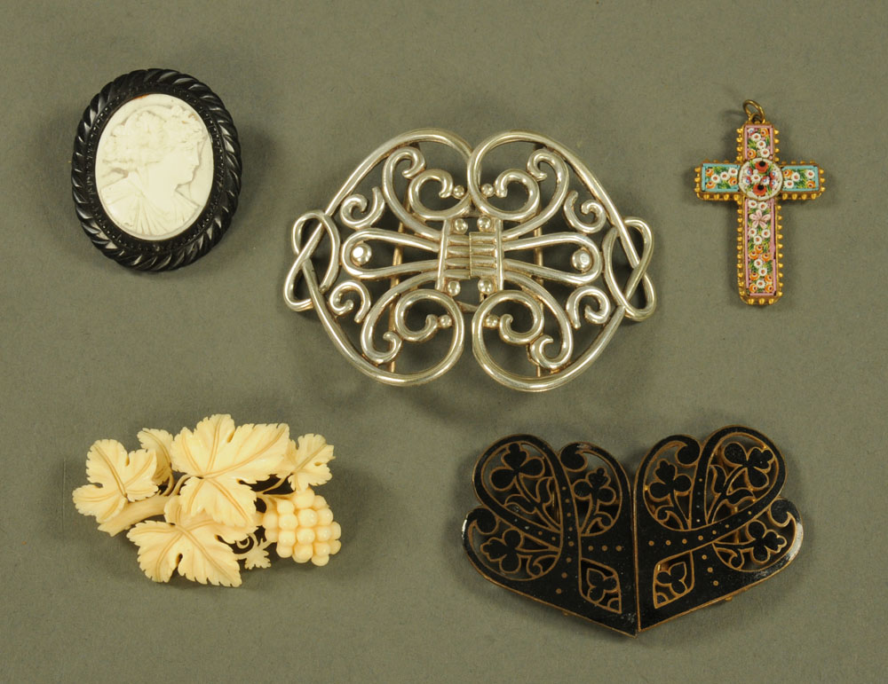 Two Art Nouveau silver plated buckles, cameo brooch etc.
