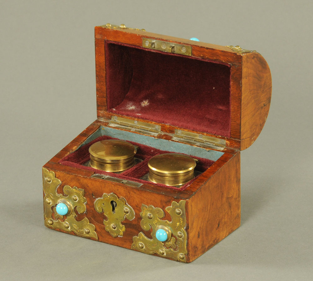 A Victorian walnut and gilt metal mounted, cabochon and turquoise inset, - Image 2 of 2