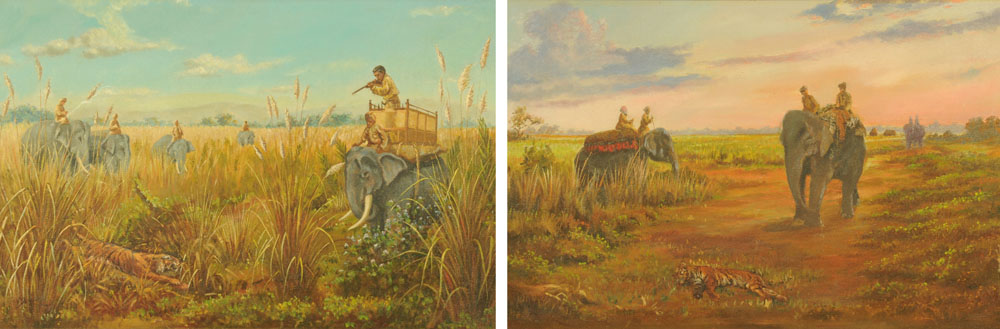 A pair of oil paintings on canvas, tiger hunting scenes. Each 43 cm x 67 cm, framed.