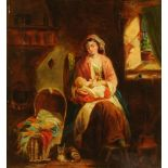 A 19th century oil painting on canvas, mother and child interior scene. 46 cm x 42 cm, framed.