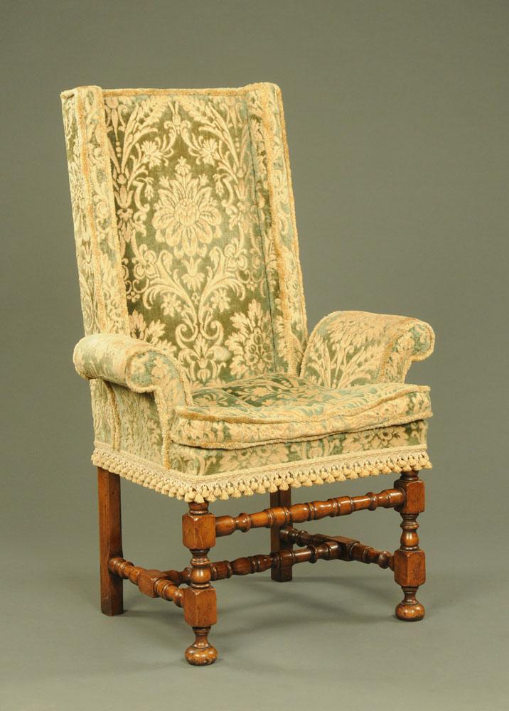 An early 20th century walnut hall chair,