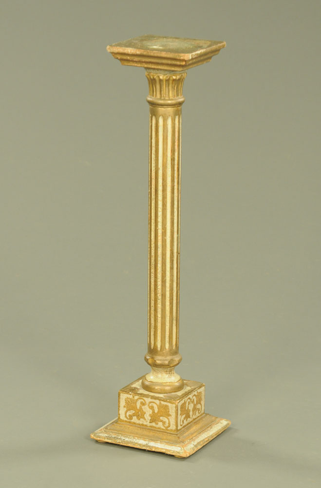 An early 20th century Italian painted pine torchere of Venetian design,