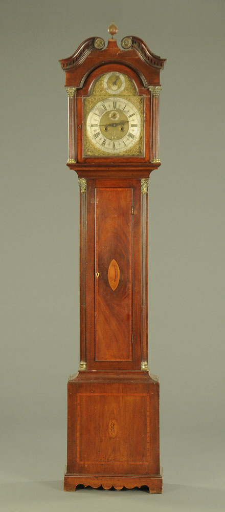 A George III mahogany longcase clock, with eight day striking movement by Sam Farrer Pontefract,