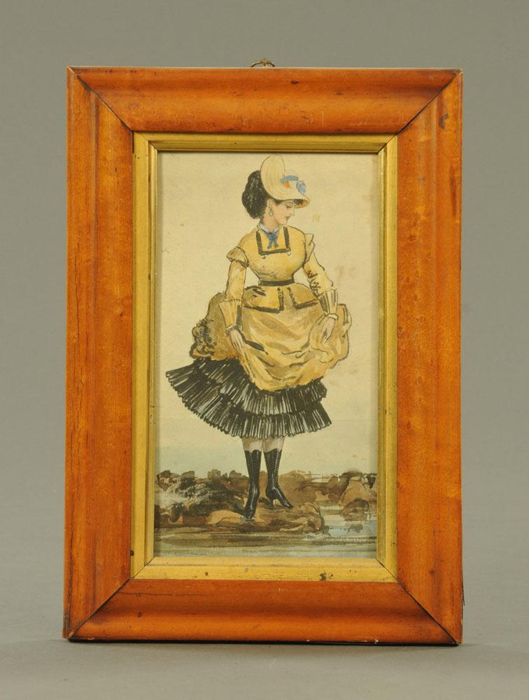 Victorian/Edwardian school, watercolour, portrait of a fashionable lady crossing a stream,