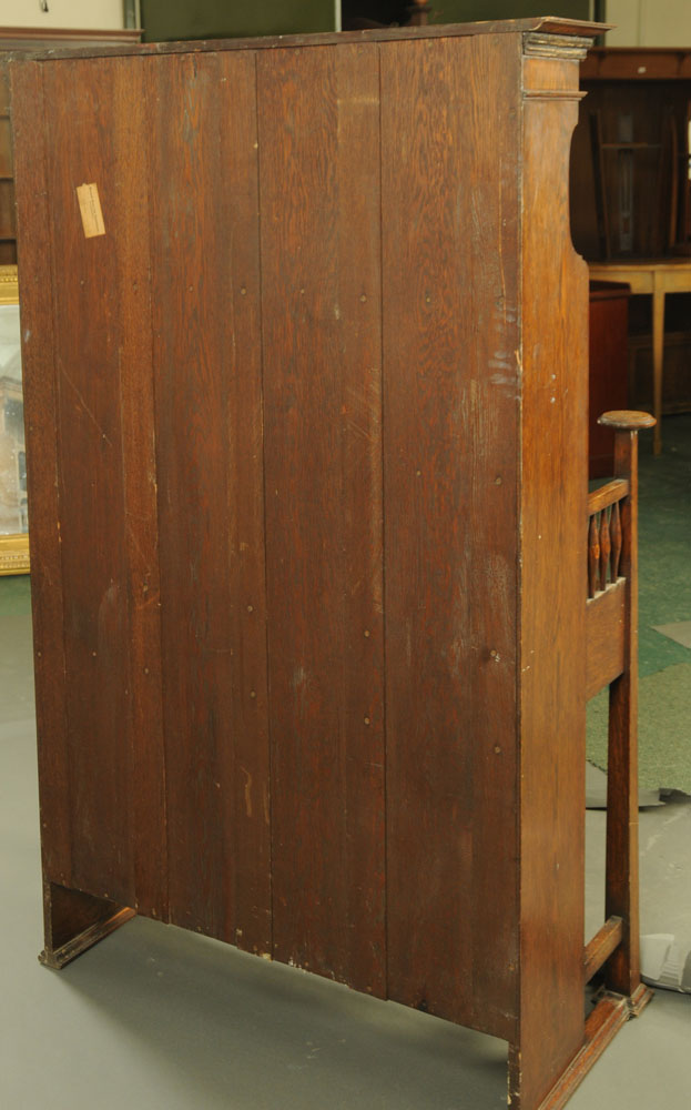 A late 19th / early 20th century Art Nouveau oak secretaire cabinet, with a series of shelves, - Image 4 of 4