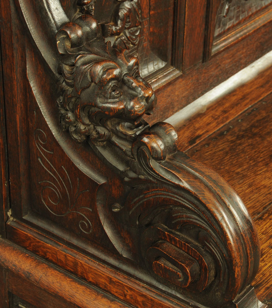 A late 19th century continental carved oak box settle, - Image 5 of 5