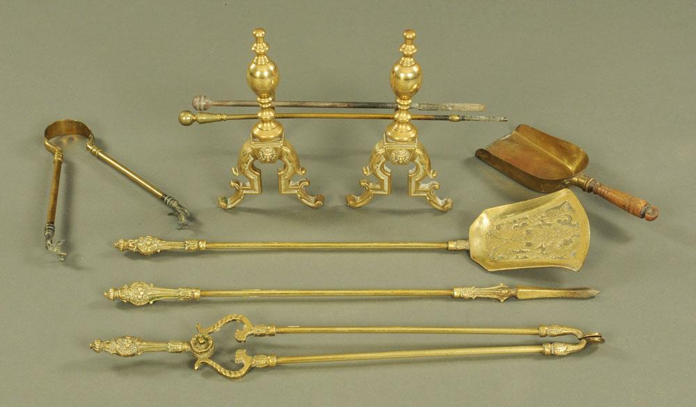 A brass three piece companion set of Victorian design,