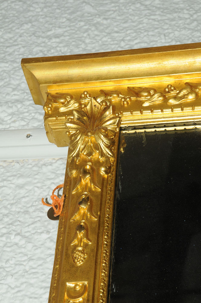 A large late 19th century gilt wood overmantle mirror, with moulded cornice and leaf, - Image 3 of 6