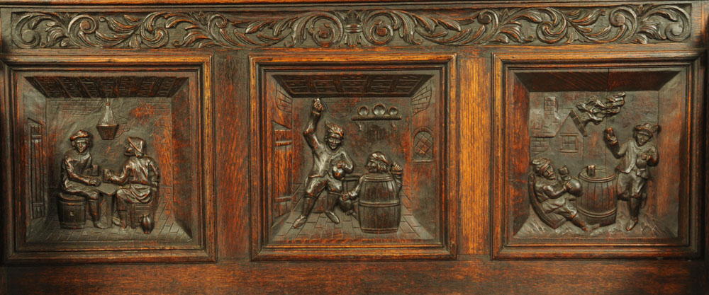 A late 19th century continental carved oak box settle, - Image 2 of 5