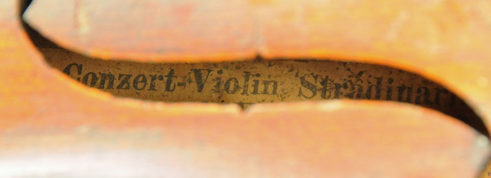 A 19th century violin, with paper label Conzert-Violin Stradiuarius Cremonensis Faciebat AO.17. - Image 8 of 16