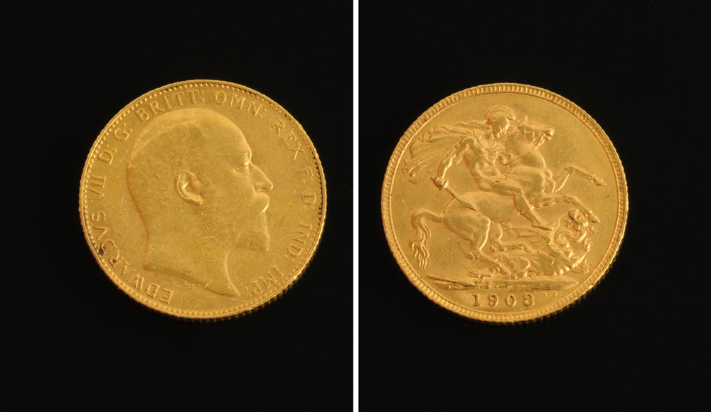 An Edward VII 1908 sovereign.