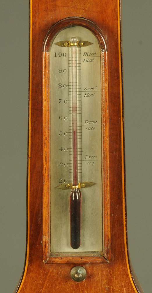 """A 19th century inlaid mahogany banjo barometer, """"Warranted Direct"""". Height 98 cm. - Image 3 of 5"""