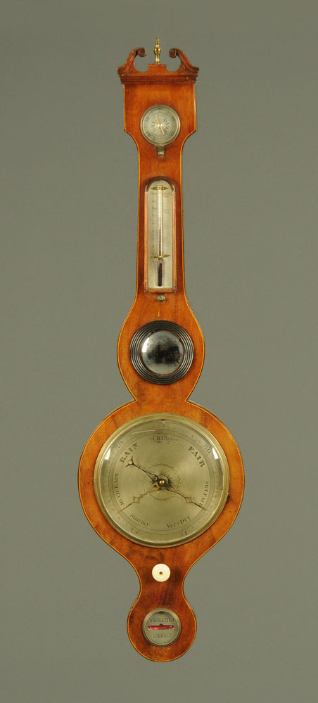 "A 19th century inlaid mahogany banjo barometer, ""Warranted Direct"". Height 98 cm."