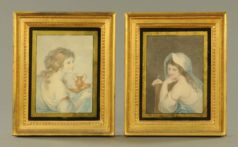 Two early 19th century coloured mezzotints,