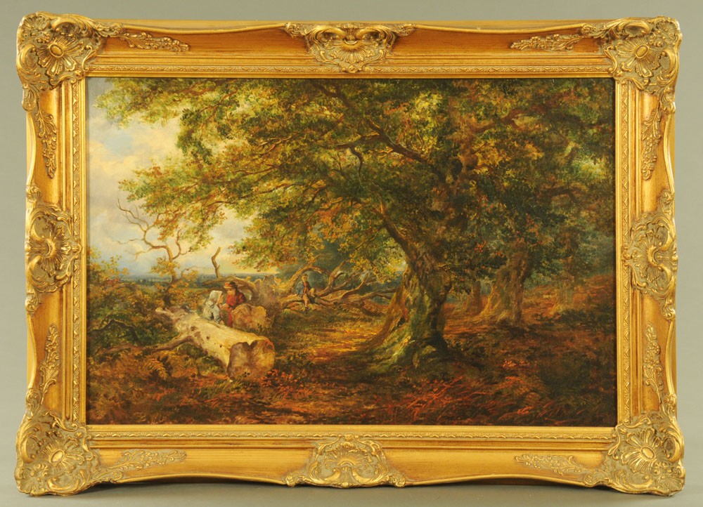 19th century English School oil painting on canvas, figures in wooded landscape. - Image 2 of 2