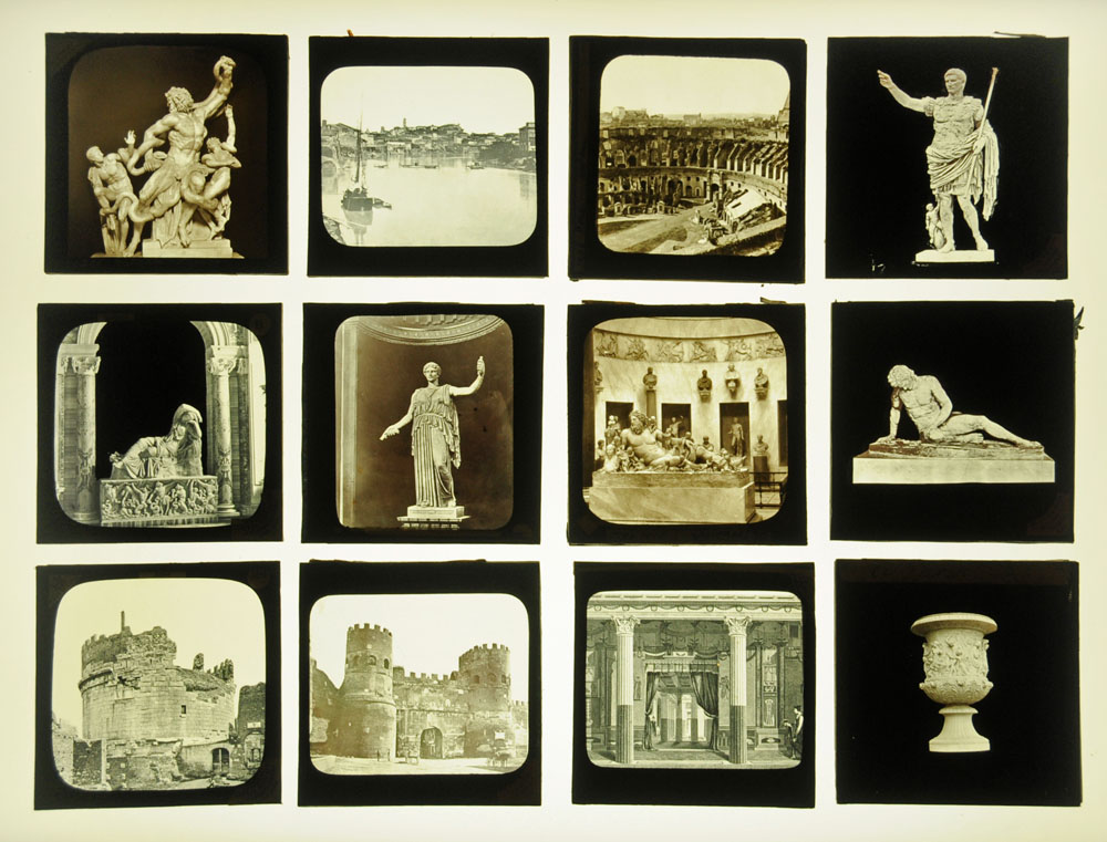 A case of fifty four late Victorian/early 20th century magic lantern slides,