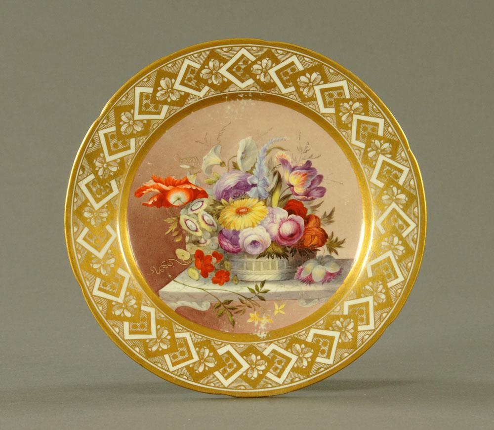 An early 19th century Pinxton porcelain circular cabinet plate,