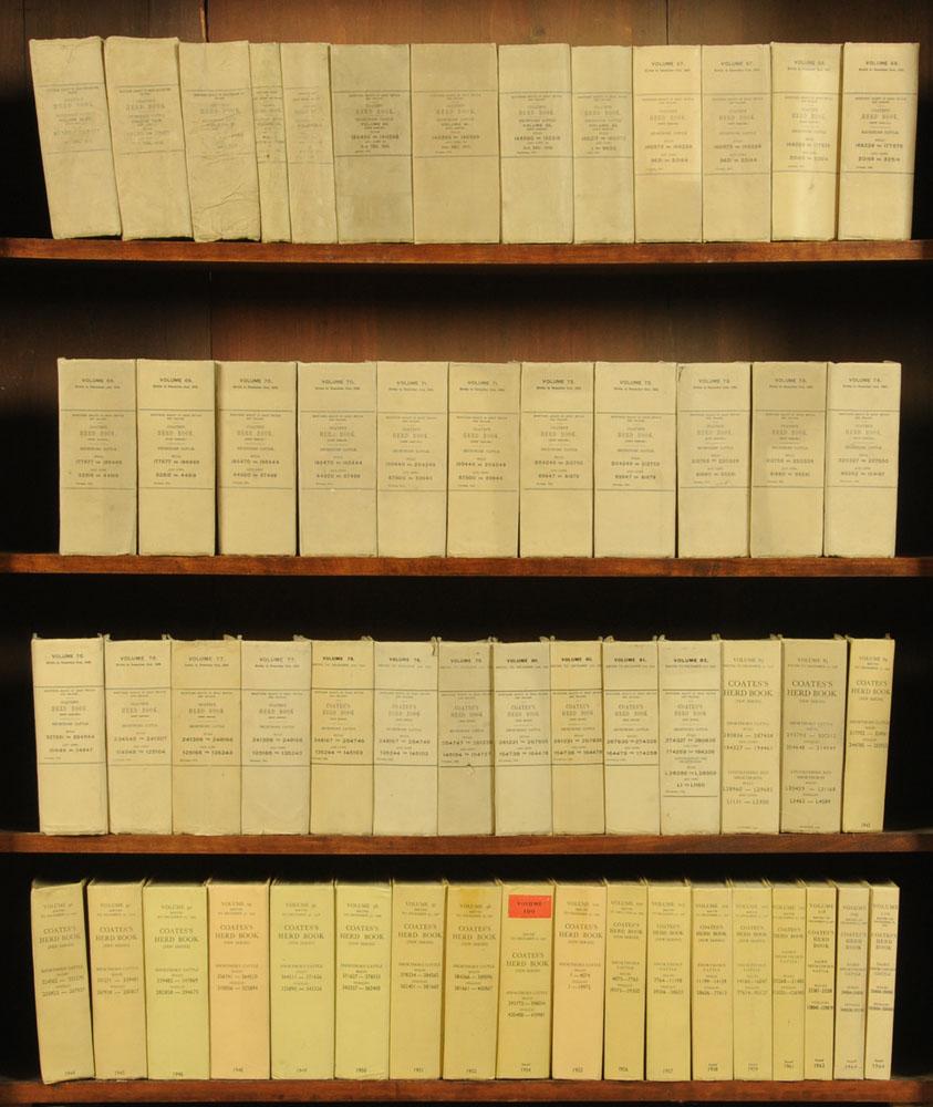 """Seventy volumes """"Coates's Herd Book"""", earliest circa 1901."""