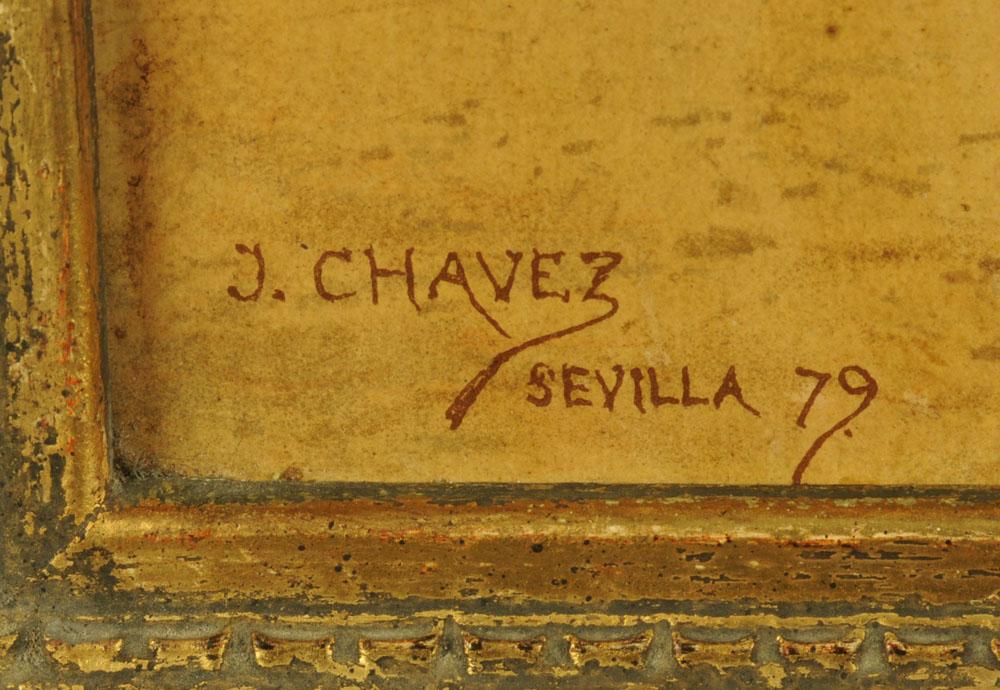 After J Chavez, an oleograph of a bullfight, 47 cm x 62 cm, framed. - Image 3 of 6
