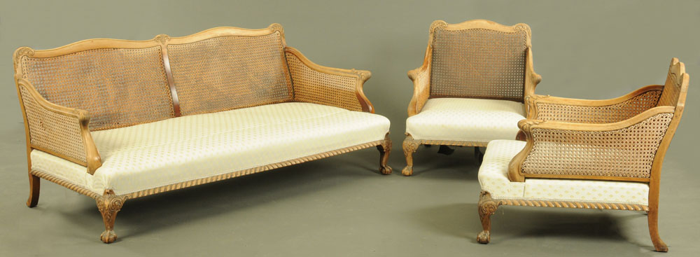 A walnut framed bergere lounge suite, comprising two chairs and settee, - Image 2 of 7