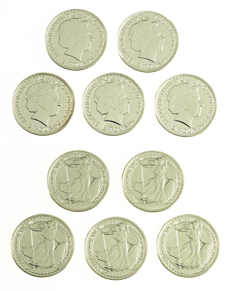 """Five Queen Elizabeth II silver Britannias, 2014, inscribed """"One Ounce 999 fine silver"""". UNC."""