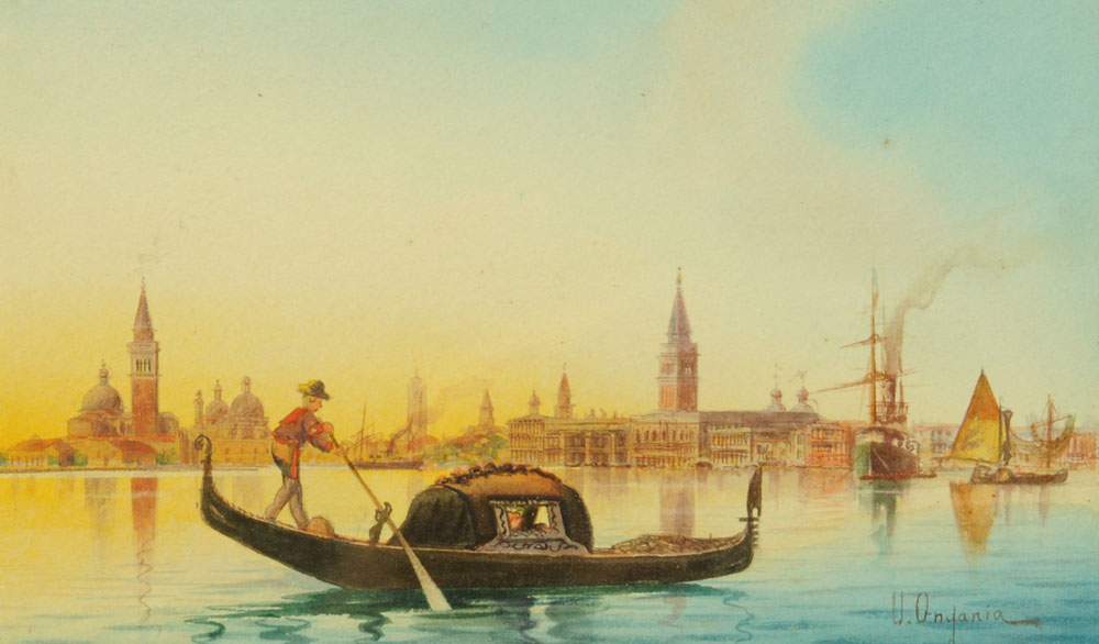 Umberto Ongania (Venetian School), watercolour, Grand Canal Venice scene with gondolier.
