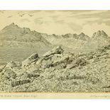 """Alfred Wainwright (1907-1991), an original pen and ink drawing """"The Black Cuillin from Elgol"""","""