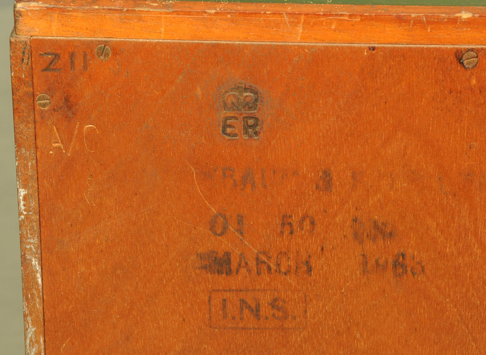 A mid century stained beechwood engineers workshop drawers, the top inset with green rexine. - Image 2 of 2