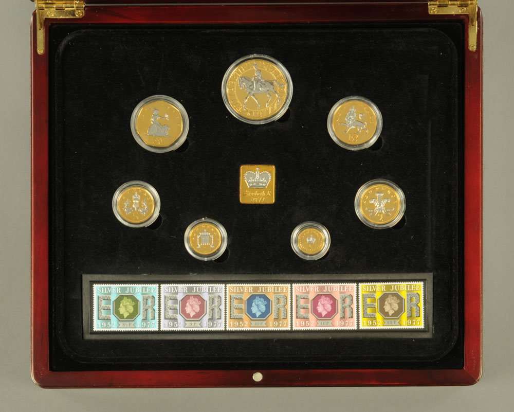 """""""The 1977 Silver Jubilee Majesty Year Set"""" - a set of twelve coins and stamps issued by The London"""
