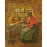 Robert William Wright (Fl 1870-1906), oil painting, interior scene with a lady pouring a cup of tea,