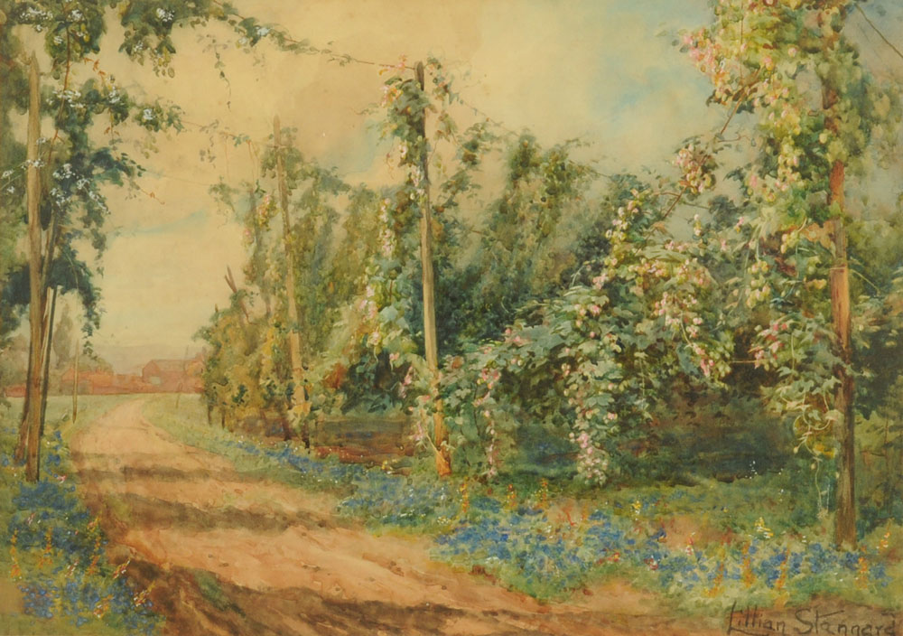 Lilian Stannard (1877-1944), a watercolour country lane. 33 cm x 46 cm, framed, signed.