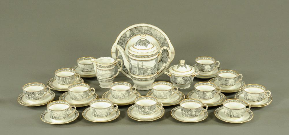 A Czechoslovakian porcelain coffee service, comprising coffeepot, milk jug, sucriere, 15 cups,