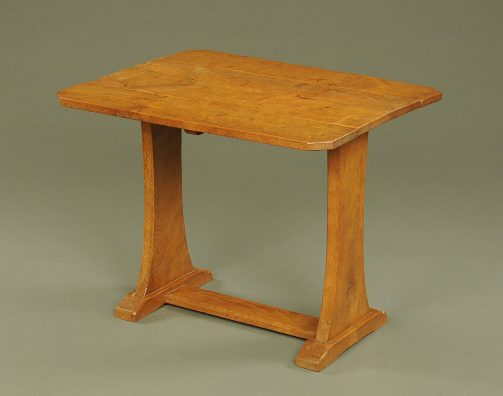 A good quality adzed oak rectangular drop leaf table on trestle end supports, - Image 2 of 2