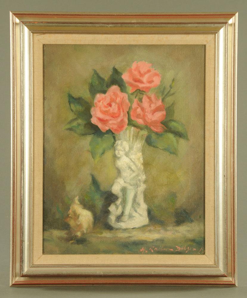 Henry Raeburn Dobson, oil on canvas, roses. 44 cm x 34 cm, framed, signed. - Image 2 of 2