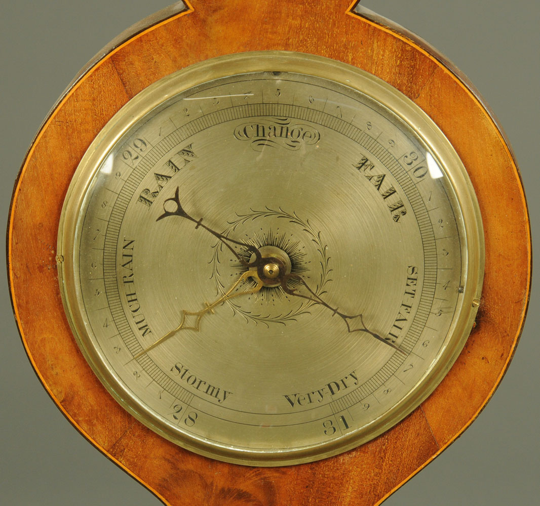 """A 19th century inlaid mahogany banjo barometer, """"Warranted Direct"""". Height 98 cm. - Image 4 of 5"""