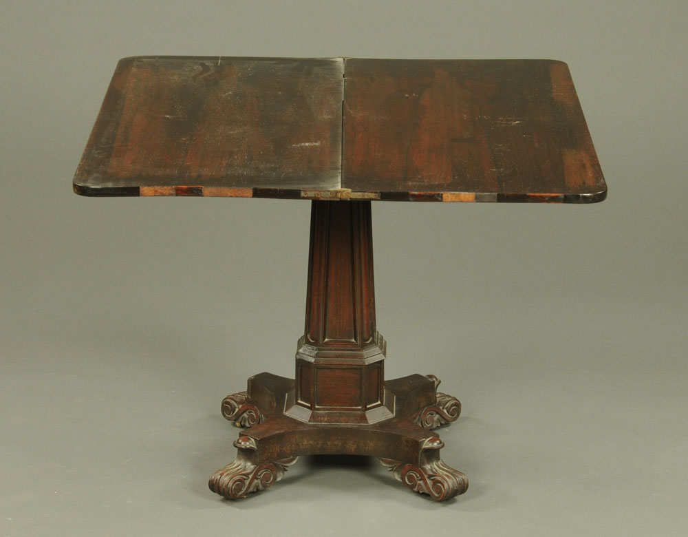 An early 19th century rosewood turnover top tea table, with rounded corners, faceted centre column, - Image 2 of 2