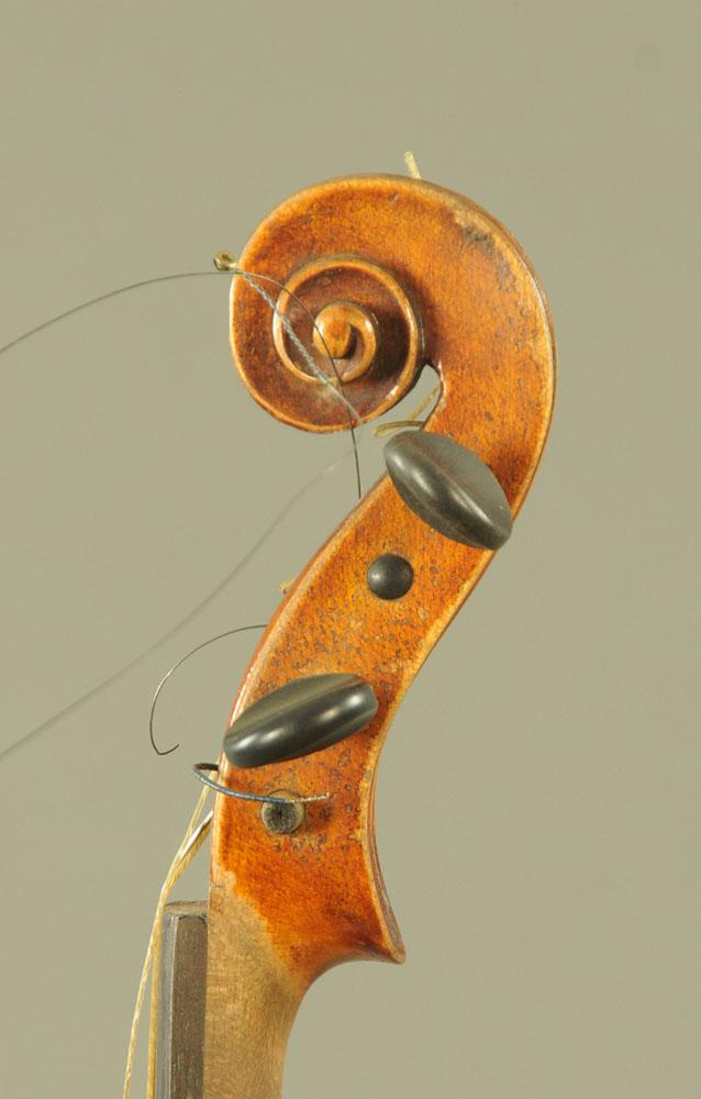 A 19th century violin, with paper label Conzert-Violin Stradiuarius Cremonensis Faciebat AO.17. - Image 7 of 16