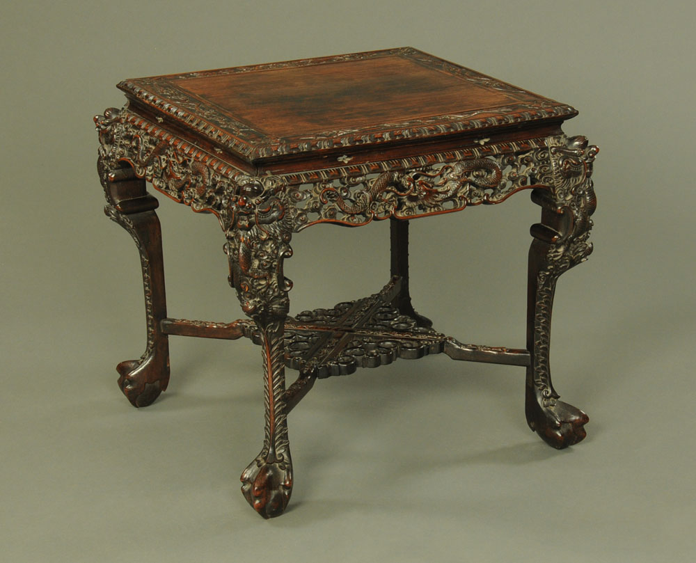 A 19th century Chinese hardwood large jardiniere stand or table,