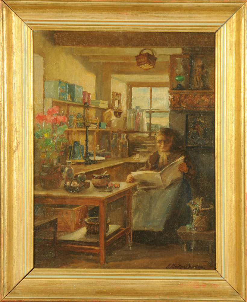 J Morton Dunlop, oil on canvas, lady reading in kitchen. 44 cm x 33 cm, framed, signed. - Image 2 of 2