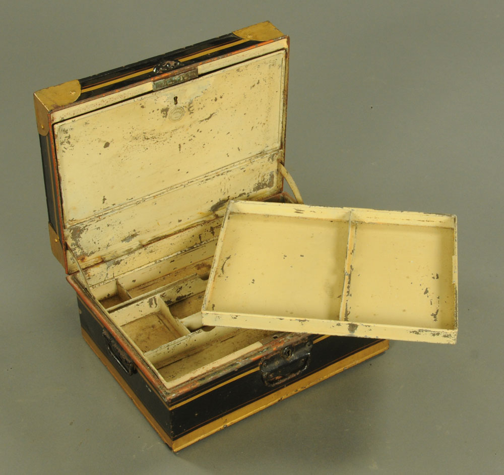 A 19th century painted metal deed box. 40 cm x 30 cm x 18.5 cm. - Image 2 of 3