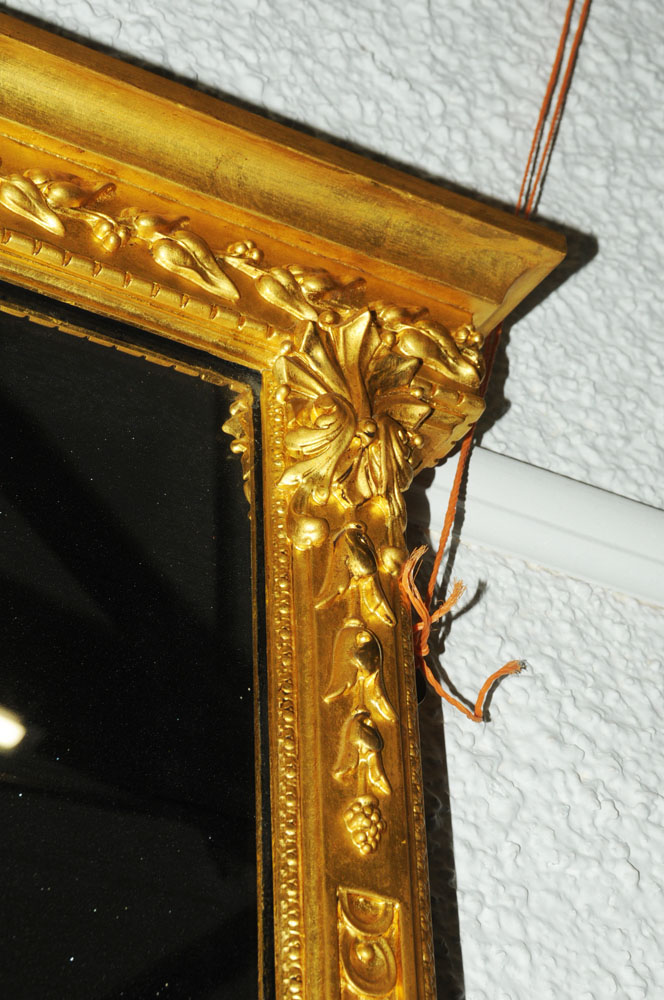 A large late 19th century gilt wood overmantle mirror, with moulded cornice and leaf, - Image 4 of 6