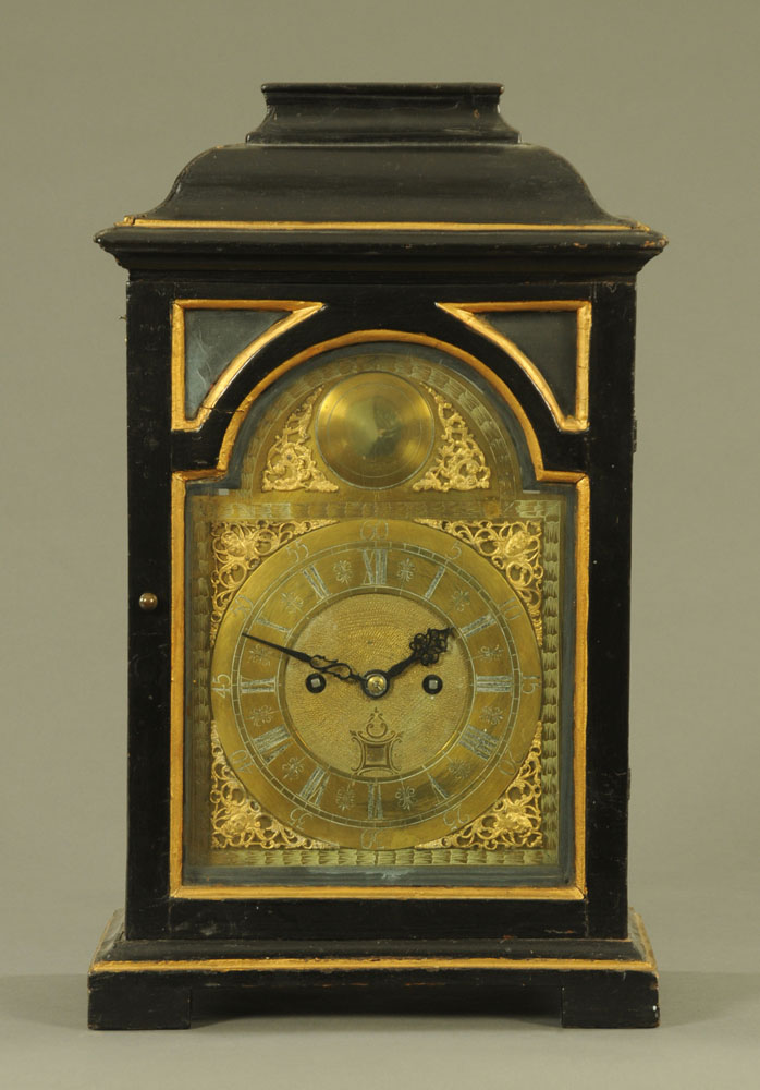 A black and gilt painted bracket clock,