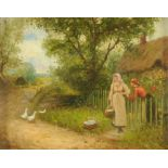 William Logsdail (1859-1944), oil on board, rural lane with figures and thatched cottage.